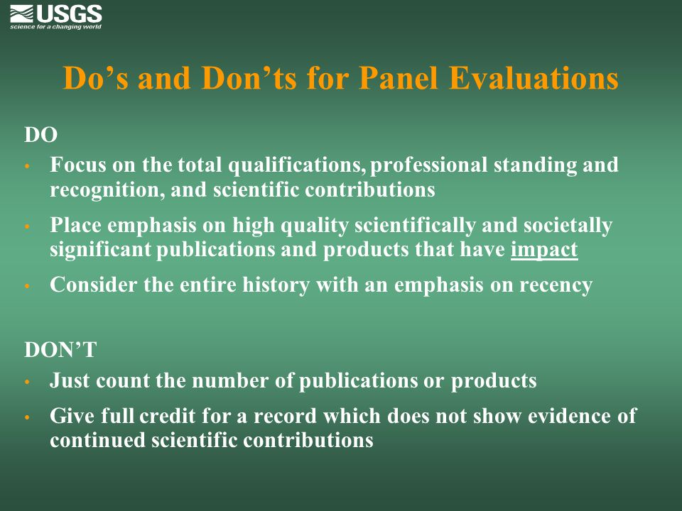 Do's and Don'ts for Panel Evaluations