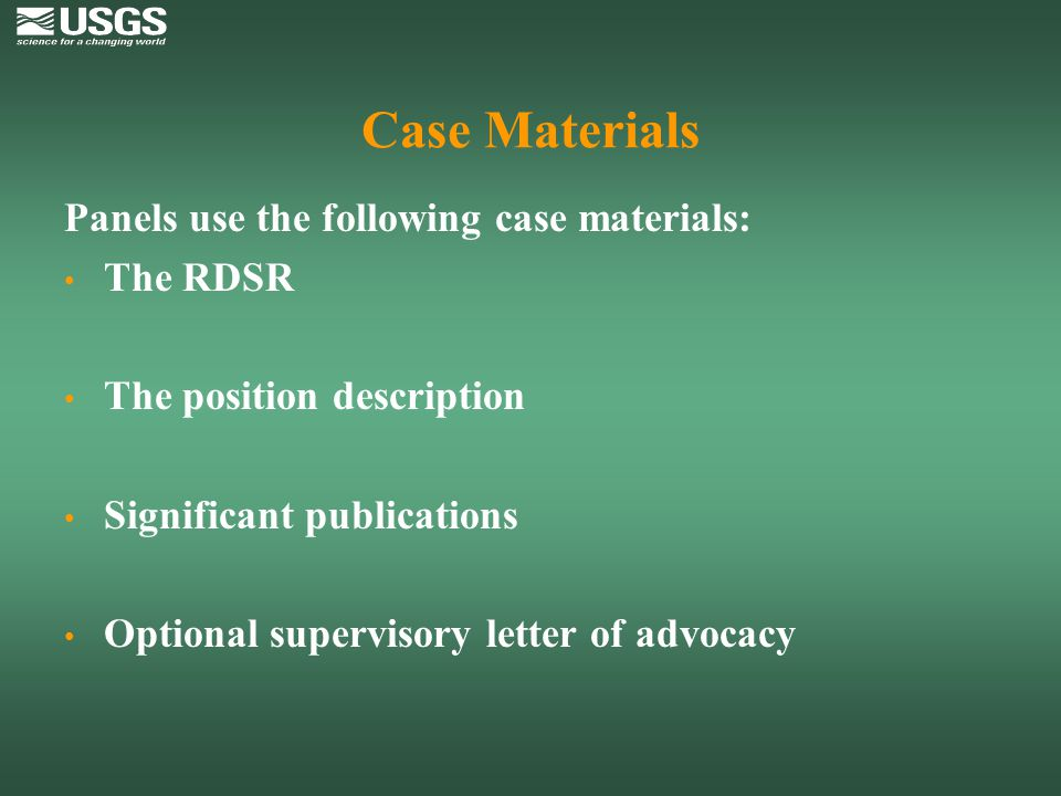 Case Materials Panels use the following case materials: The RDSR