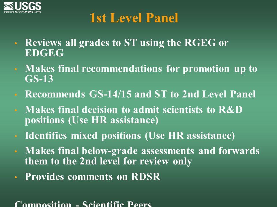 1st Level Panel Reviews all grades to ST using the RGEG or EDGEG