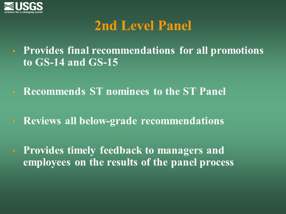 2nd Level Panel Provides final recommendations for all promotions to GS-14 and GS-15. Recommends ST nominees to the ST Panel.