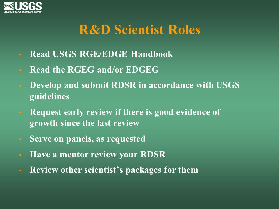 R&D Scientist Roles Read USGS RGE/EDGE Handbook