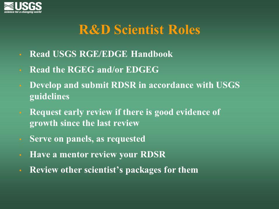 R&D Scientist Roles Read USGS RGE/EDGE Handbook
