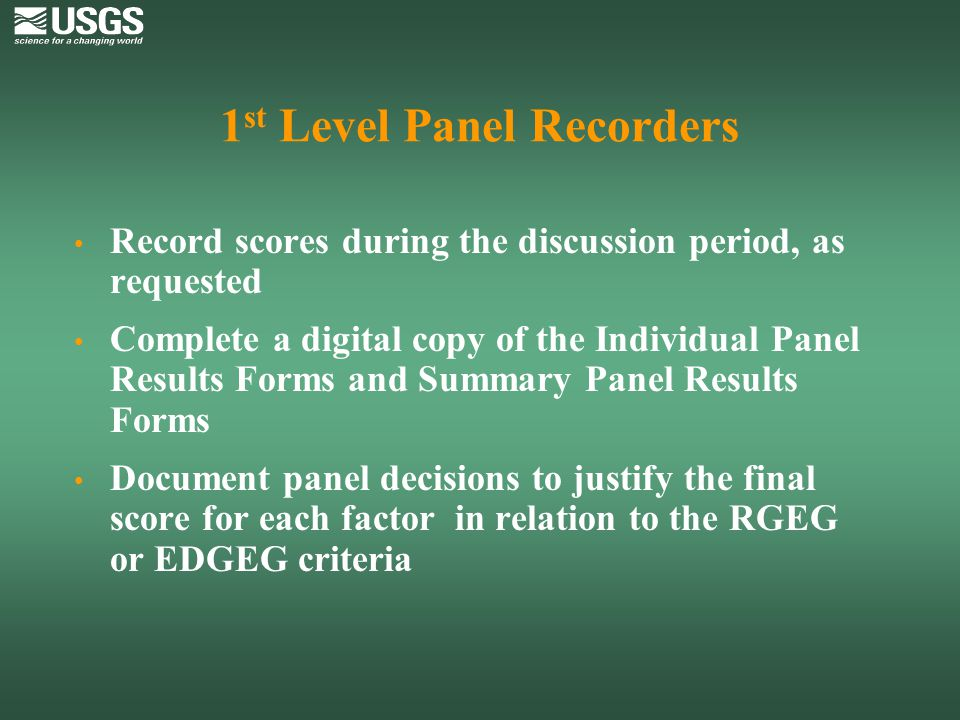 1st Level Panel Recorders