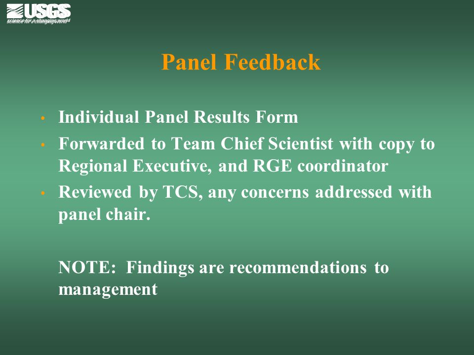 Panel Feedback Individual Panel Results Form