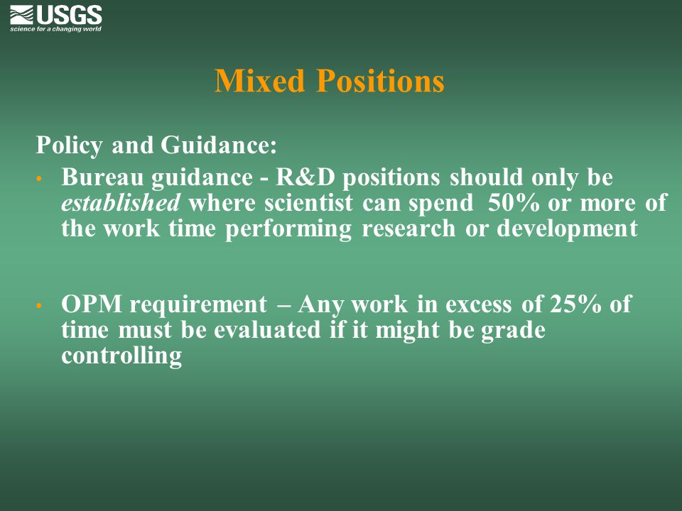 Mixed Positions Policy and Guidance: