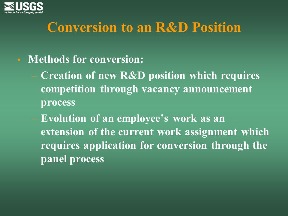 Conversion to an R&D Position