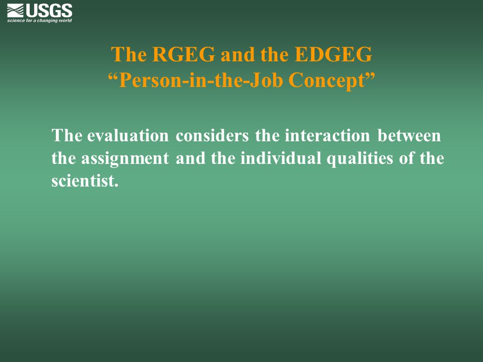 The RGEG and the EDGEG Person-in-the-Job Concept