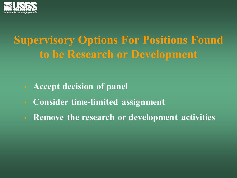 Supervisory Options For Positions Found to be Research or Development