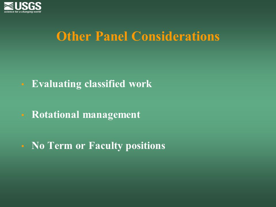 Other Panel Considerations
