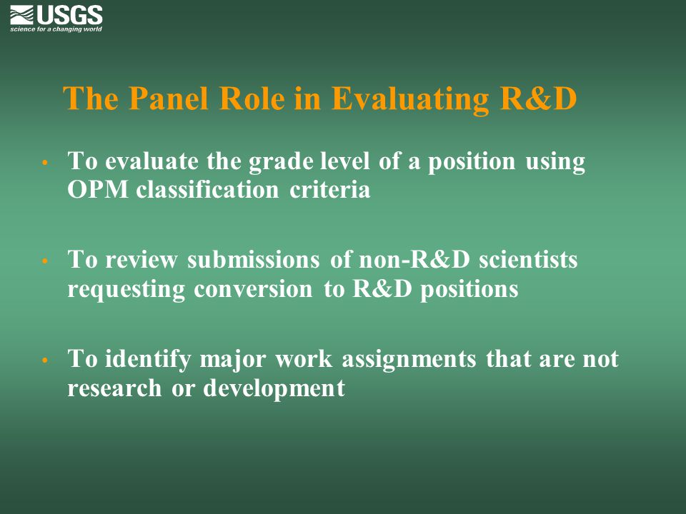 The Panel Role in Evaluating R&D
