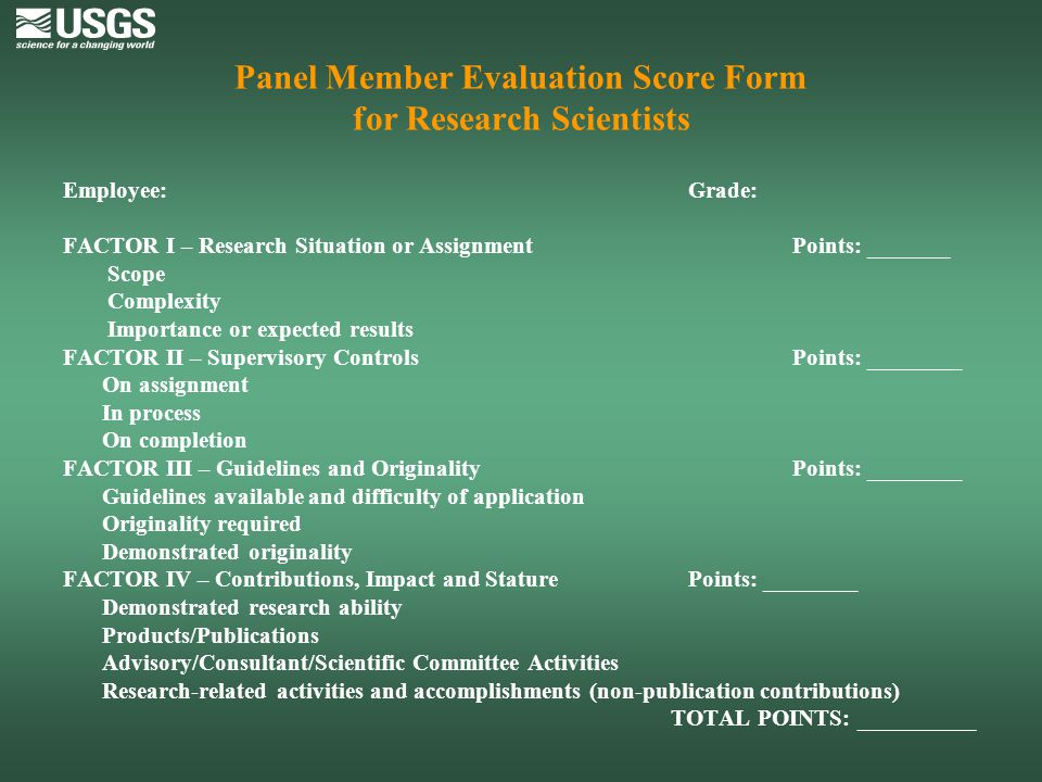 Panel Member Evaluation Score Form for Research Scientists