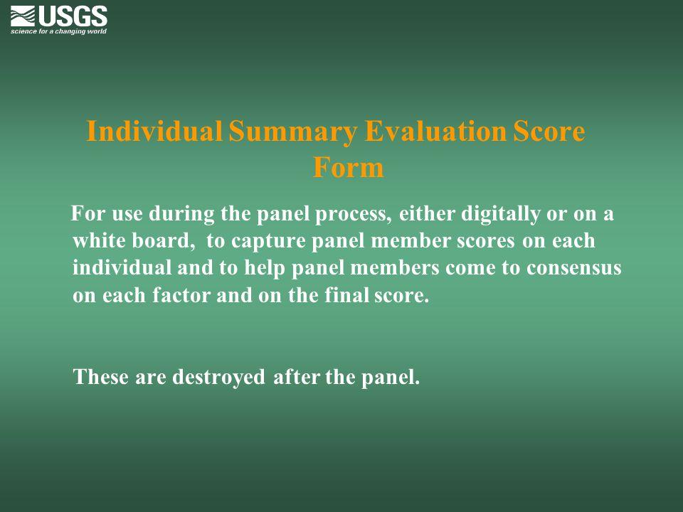 Individual Summary Evaluation Score Form