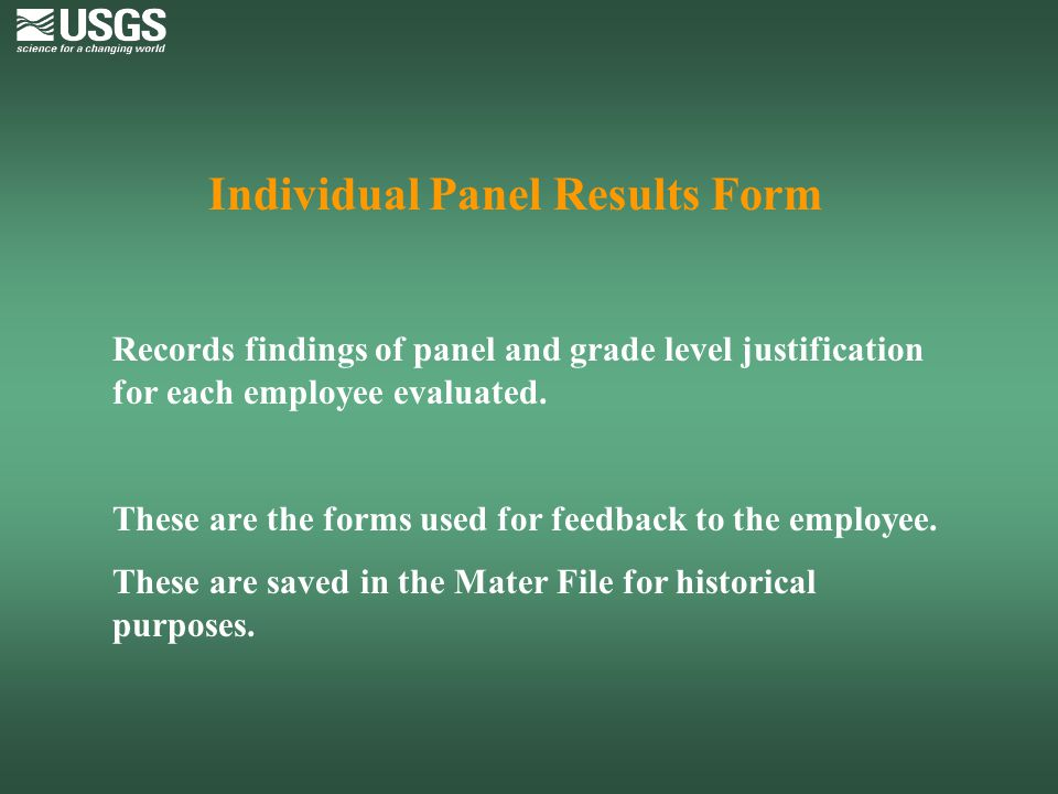 Individual Panel Results Form