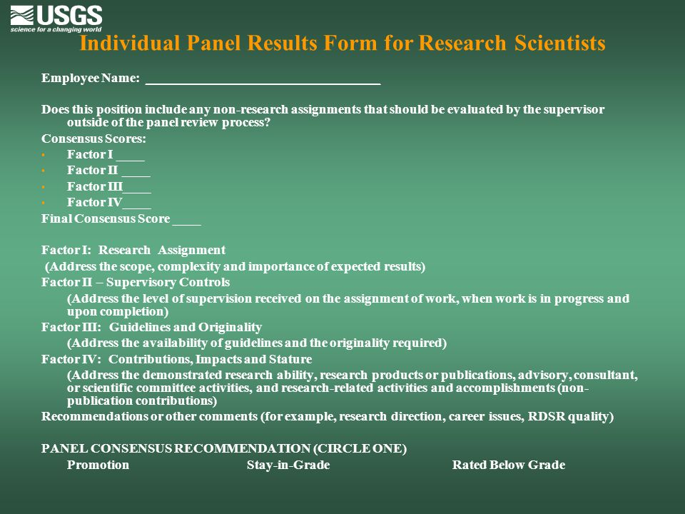 Individual Panel Results Form for Research Scientists