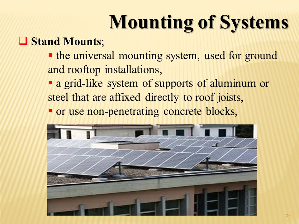 Mounting of Systems Stand Mounts;