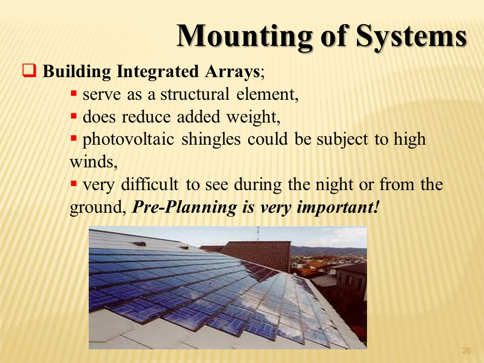 Mounting of Systems Building Integrated Arrays;