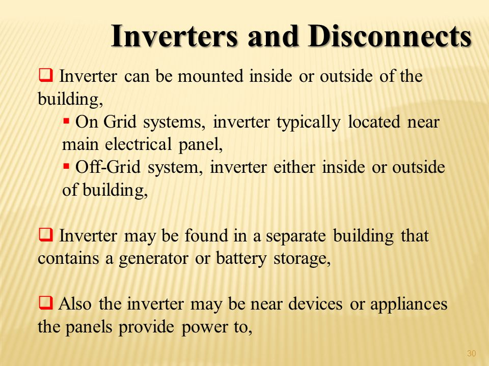 Inverters and Disconnects