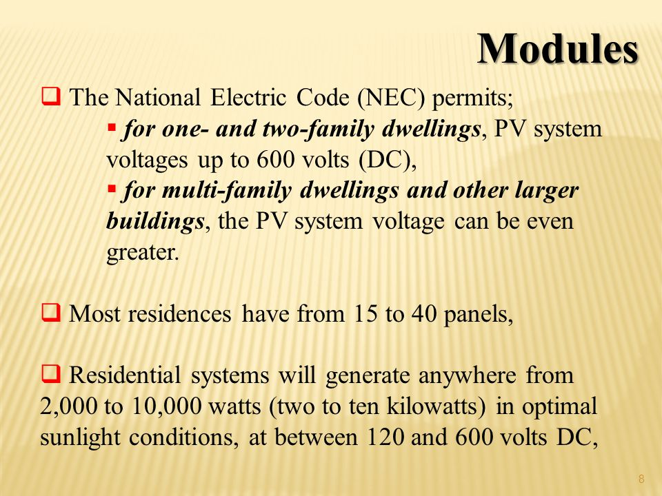 Modules The National Electric Code (NEC) permits;