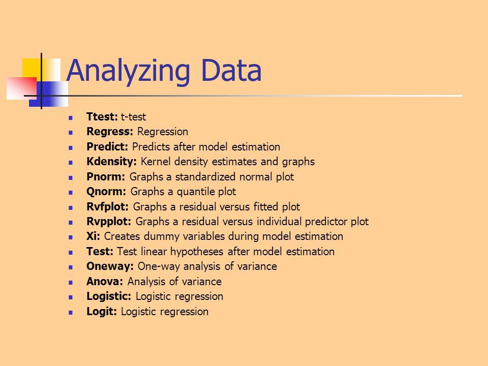 Analyzing Data Ttest: t-test Regress: Regression