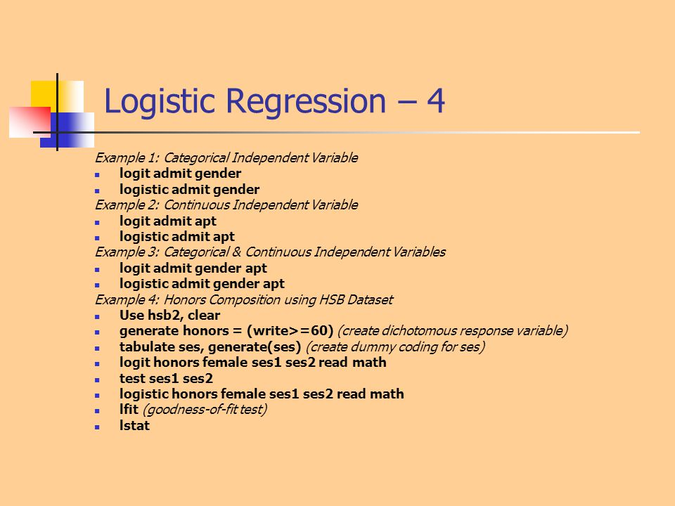 Logistic Regression – 4 Example 1: Categorical Independent Variable