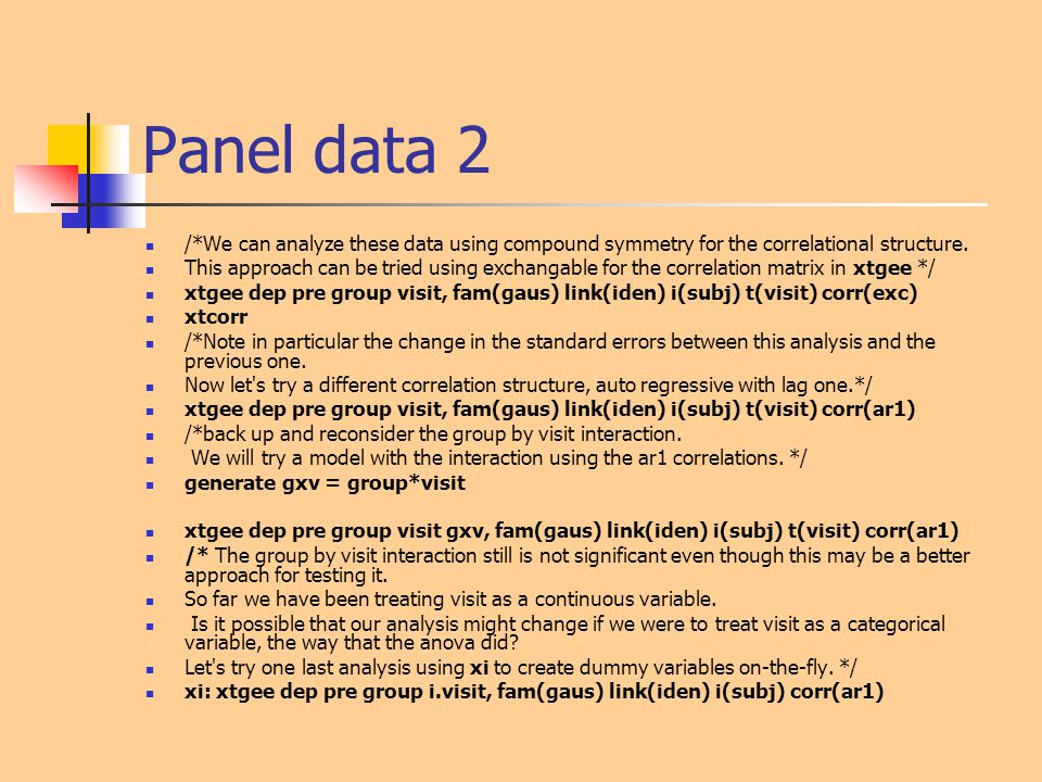 Panel data 2 /*We can analyze these data using compound symmetry for the correlational structure.