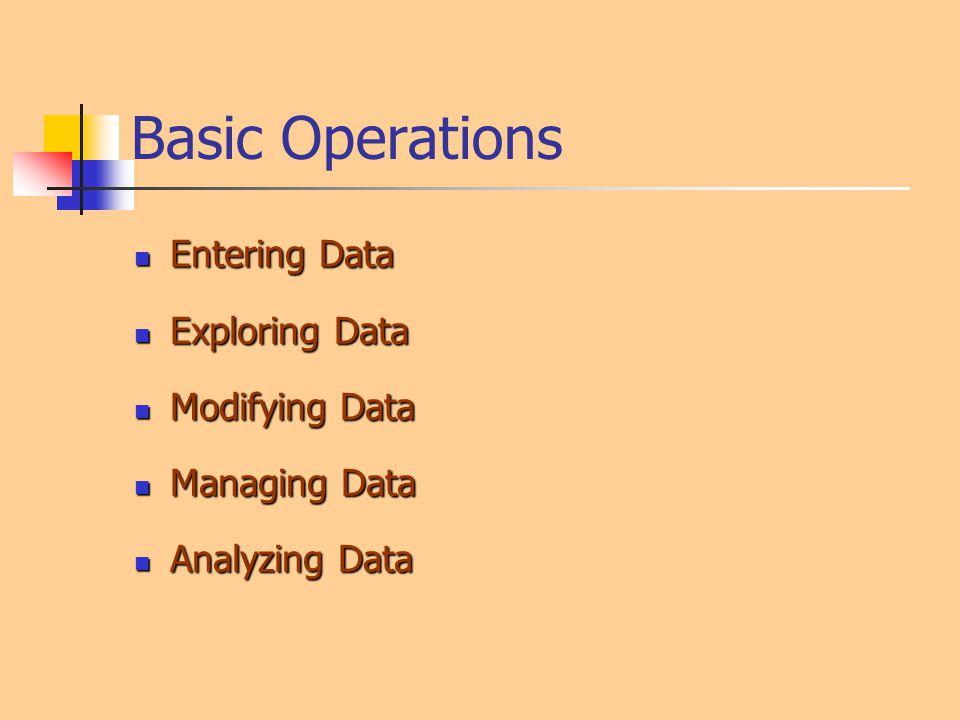 Basic Operations Entering Data Exploring Data Modifying Data