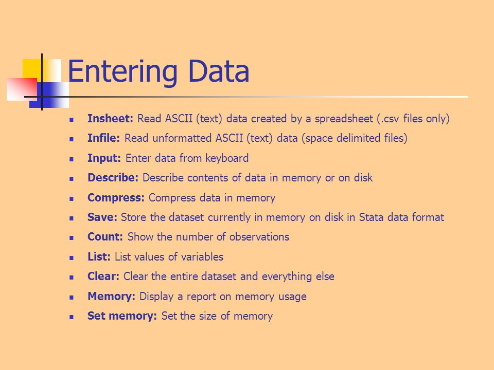 Entering Data Insheet: Read ASCII (text) data created by a spreadsheet (.csv files only)