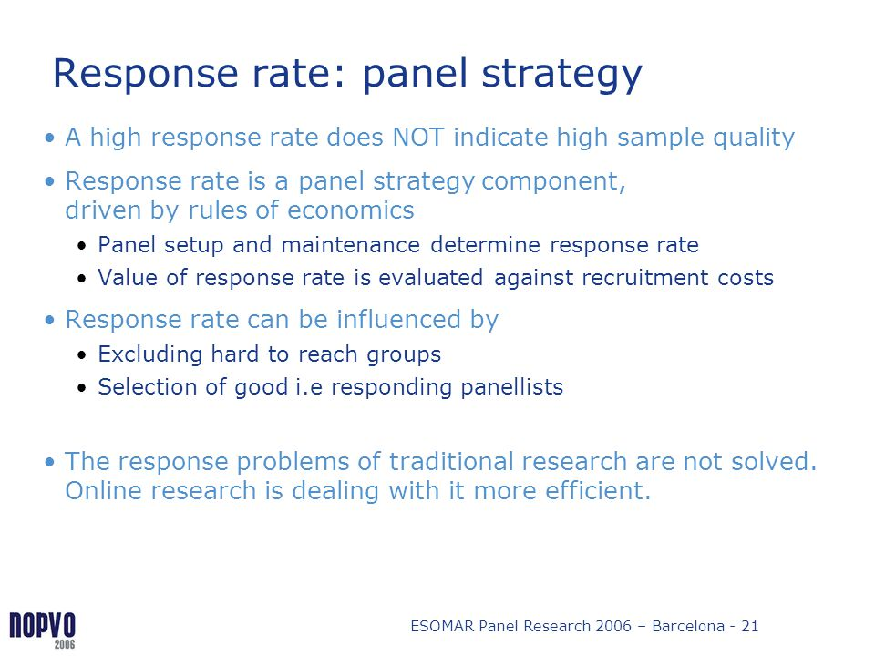 Response rate: panel strategy