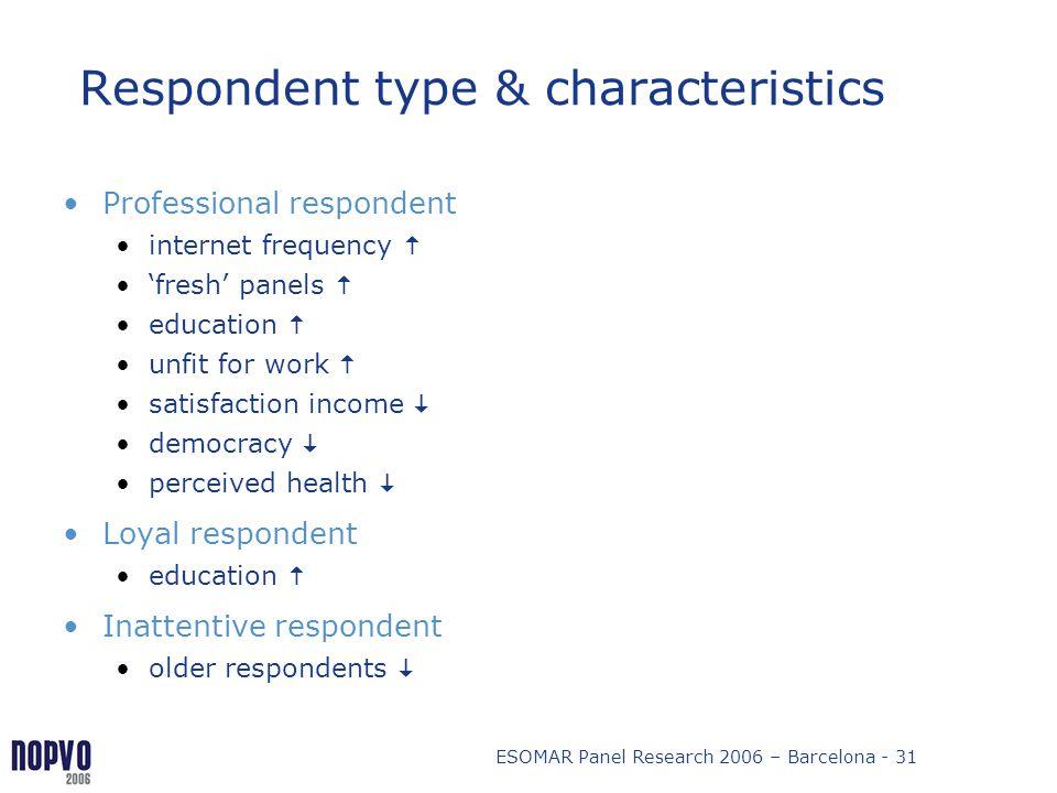 Respondent type & characteristics