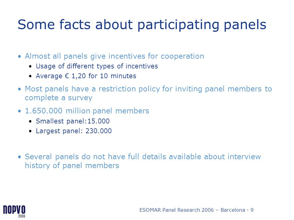 Some facts about participating panels
