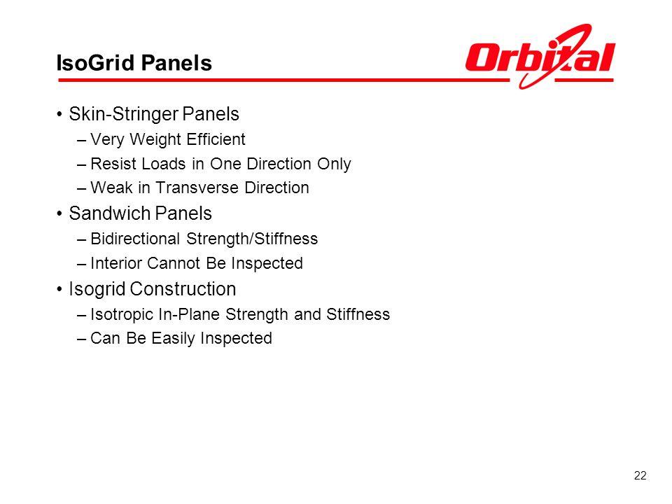 IsoGrid Panels Skin-Stringer Panels Sandwich Panels