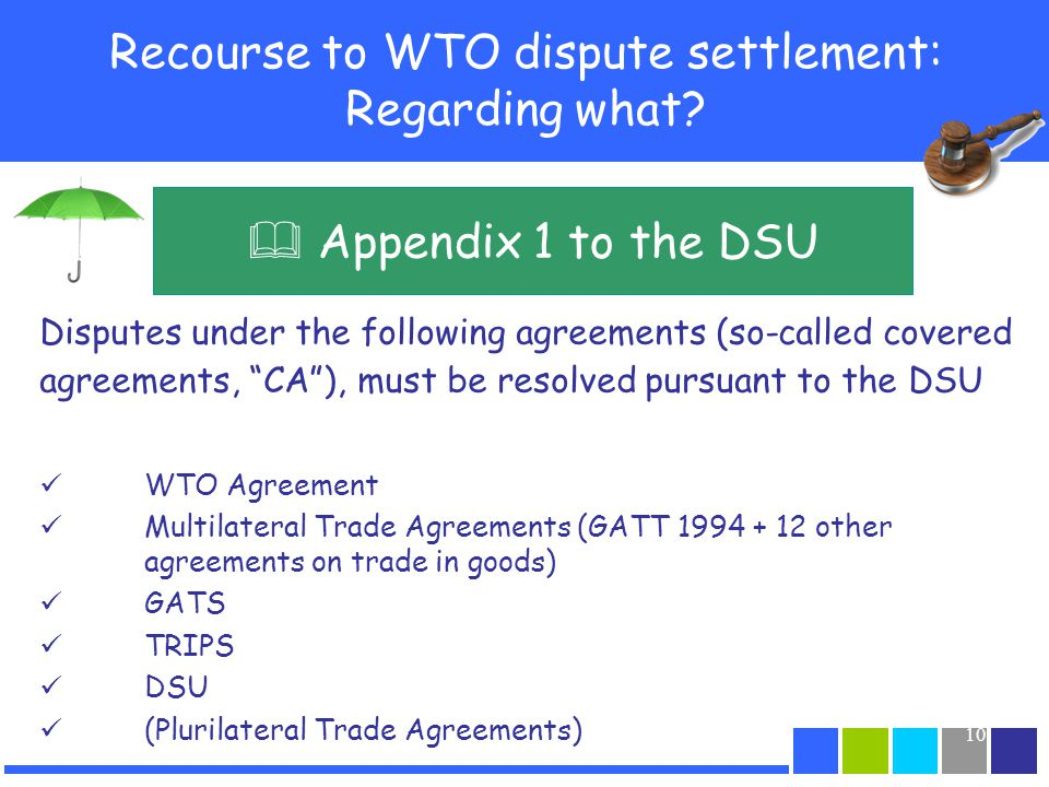 Recourse to WTO dispute settlement: Regarding what