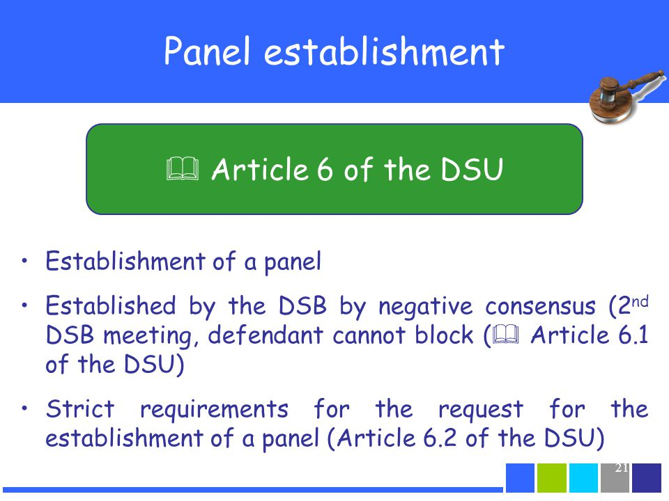 Panel establishment  Article 6 of the DSU