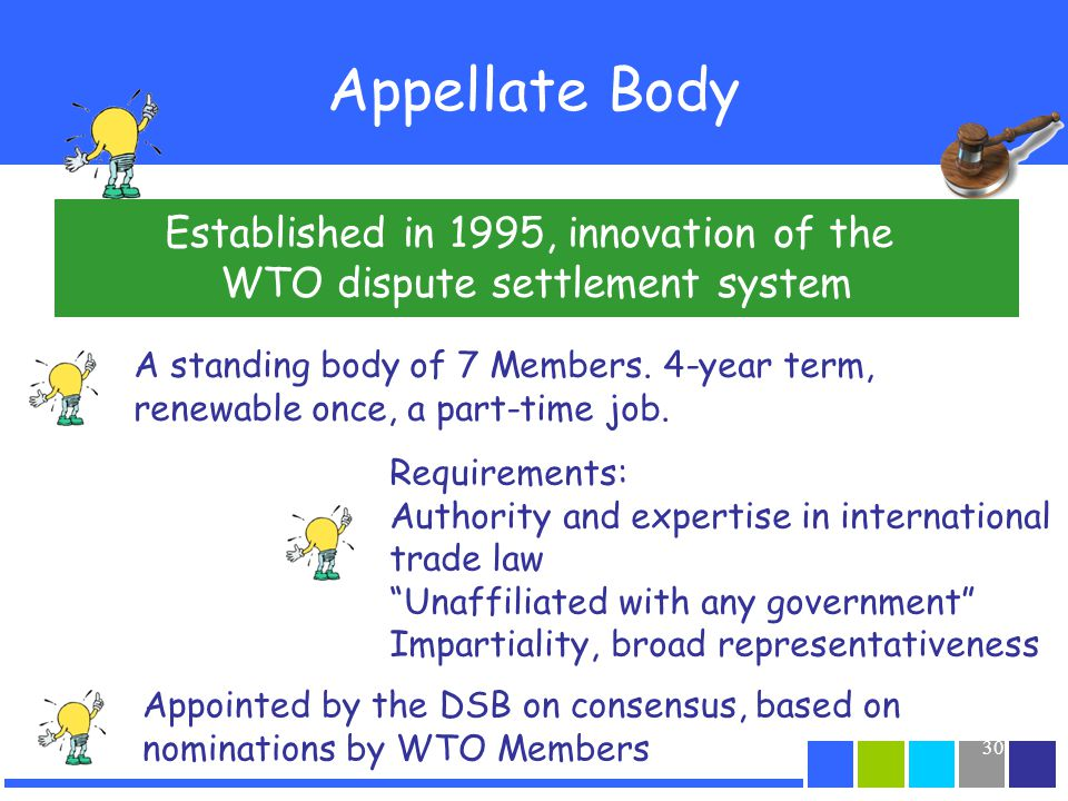 Appellate Body Established in 1995, innovation of the