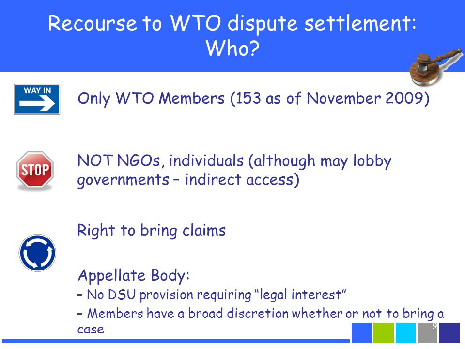 Recourse to WTO dispute settlement: Who