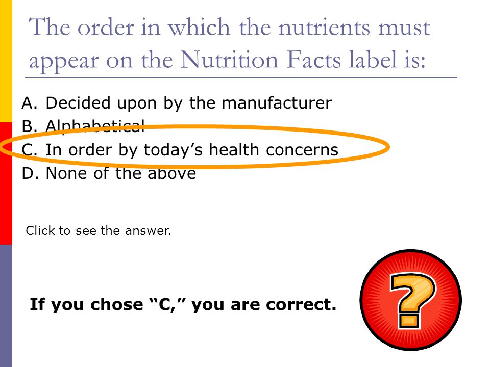 The order in which the nutrients must appear on the Nutrition Facts label is: