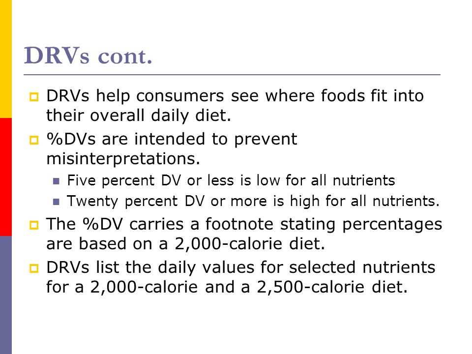 DRVs cont. DRVs help consumers see where foods fit into their overall daily diet. %DVs are intended to prevent misinterpretations.