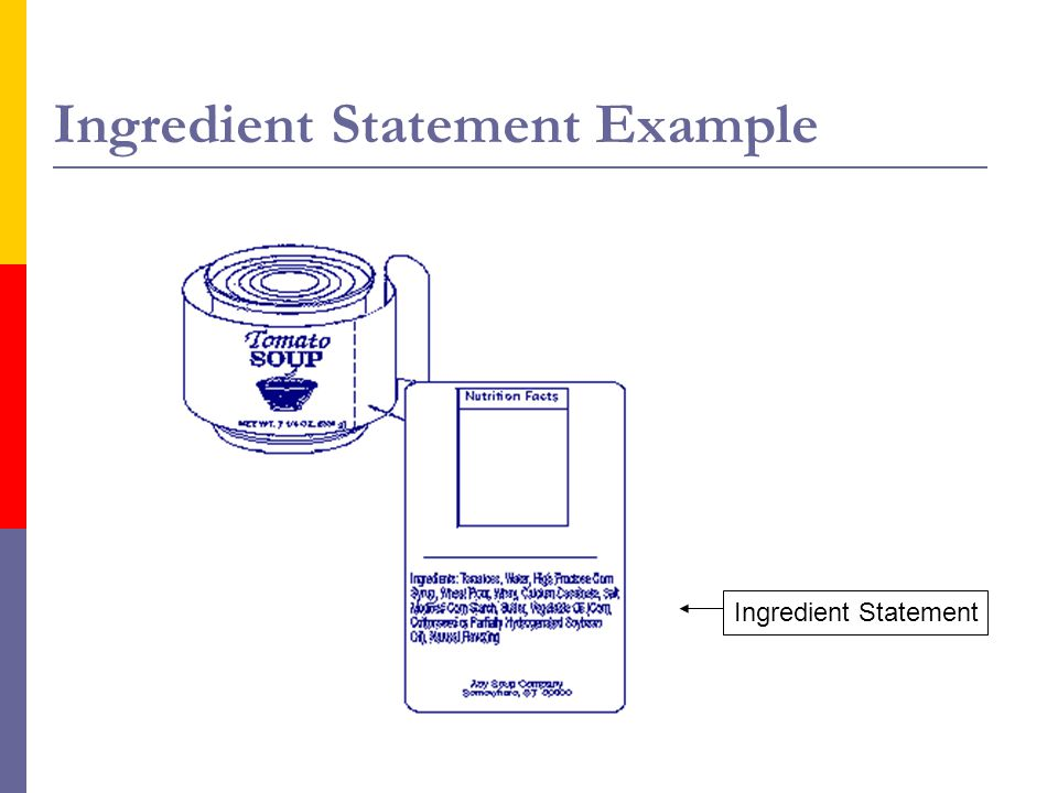 Ingredient Statement Example