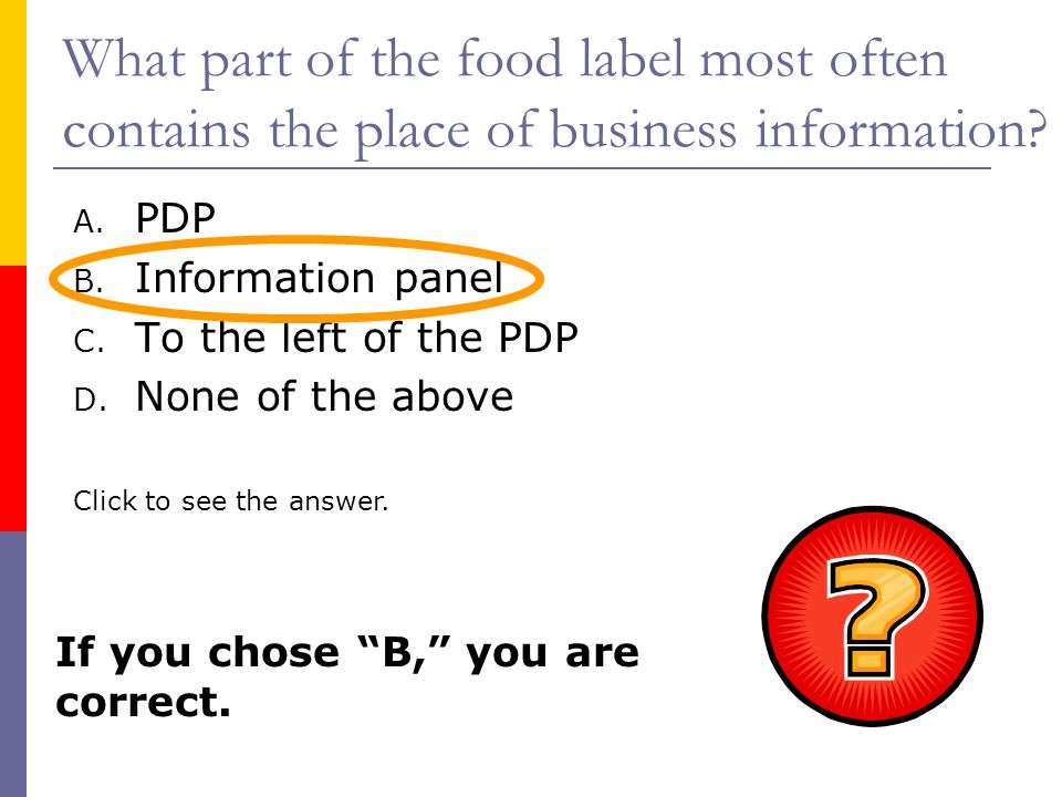 What part of the food label most often contains the place of business information