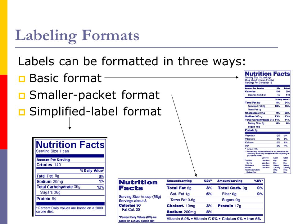 Labeling Formats Labels can be formatted in three ways: Basic format