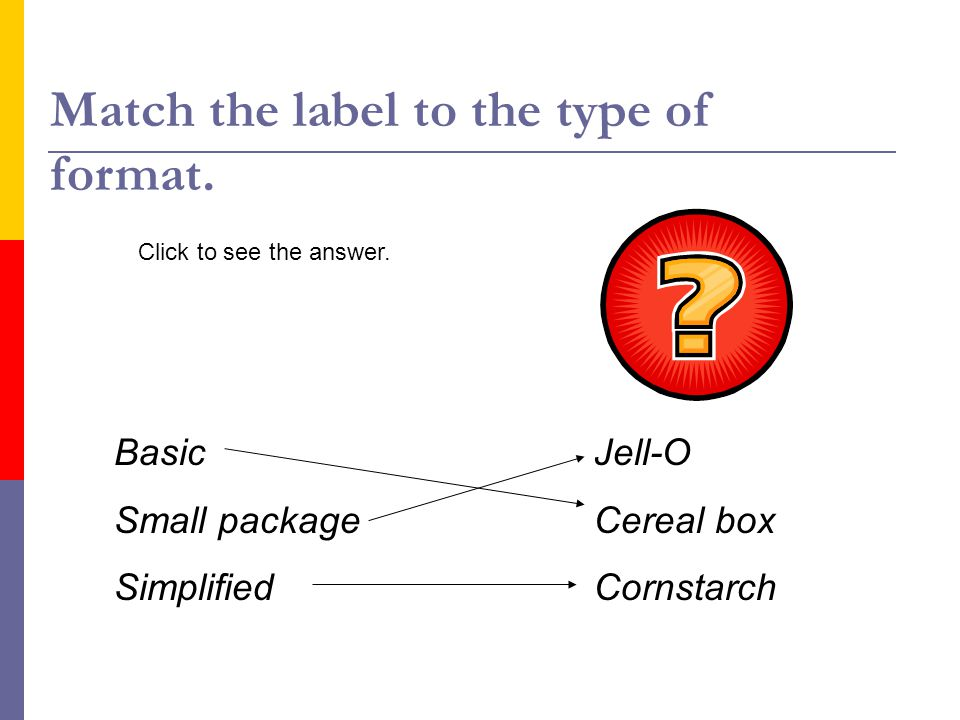 Match the label to the type of format.