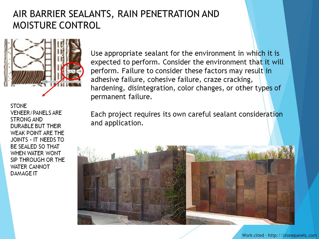 AIR BARRIER SEALANTS, RAIN PENETRATION AND MOISTURE CONTROL