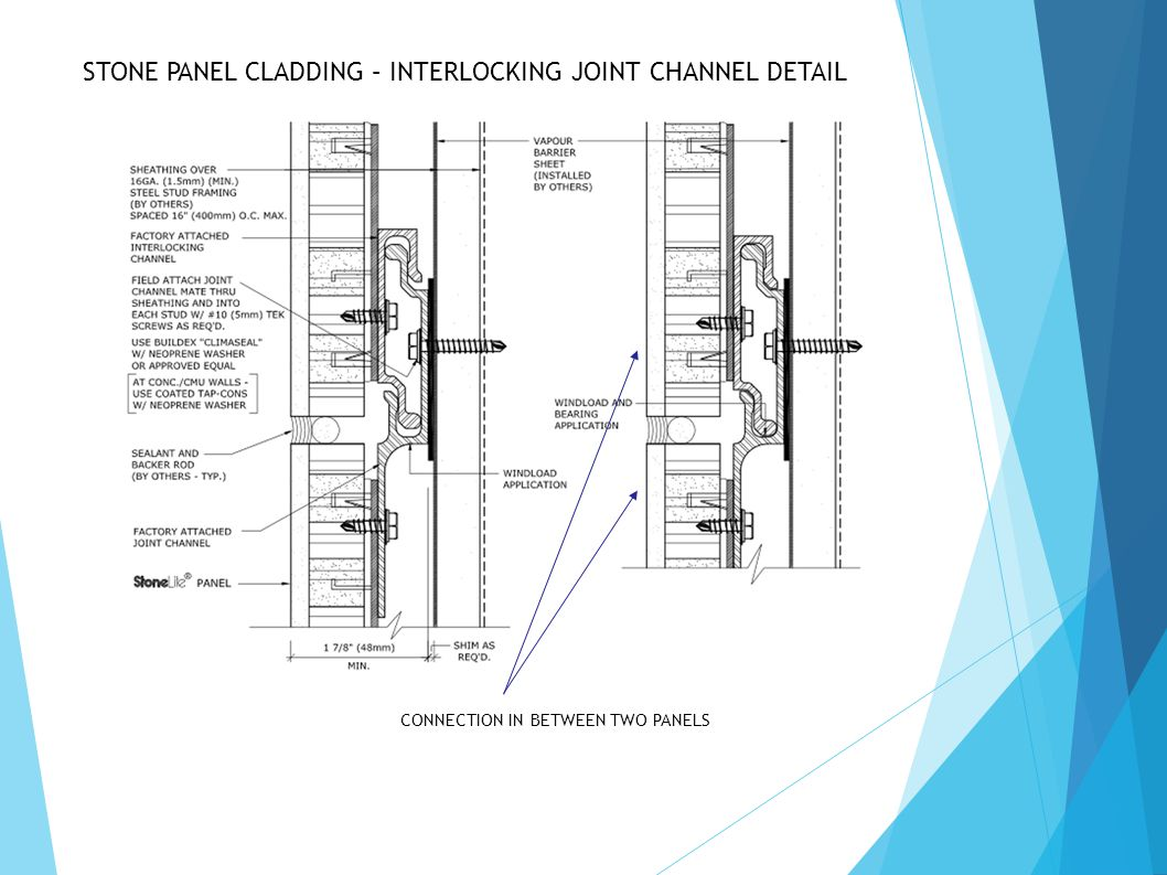 STONE PANEL CLADDING – INTERLOCKING JOINT CHANNEL DETAIL