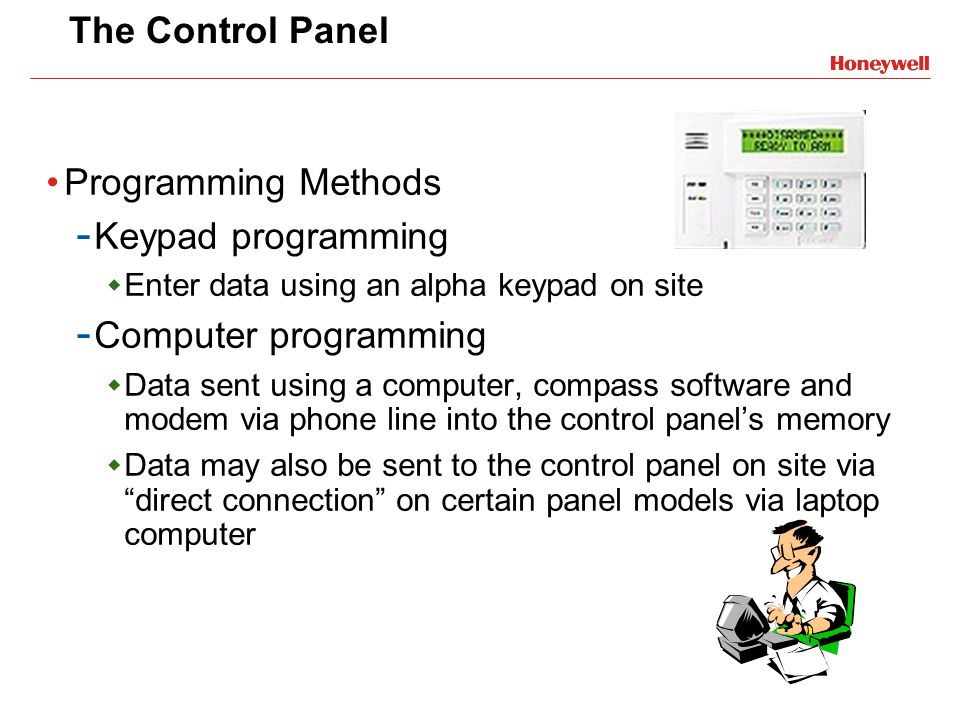 The Control Panel Programming Methods Keypad programming
