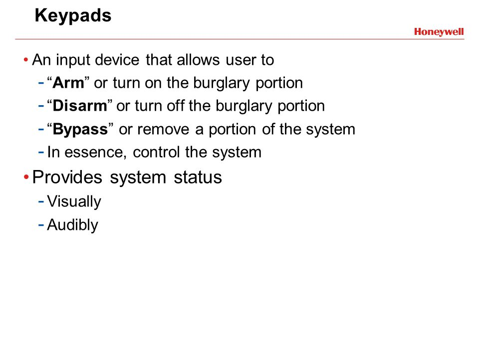 Provides system status