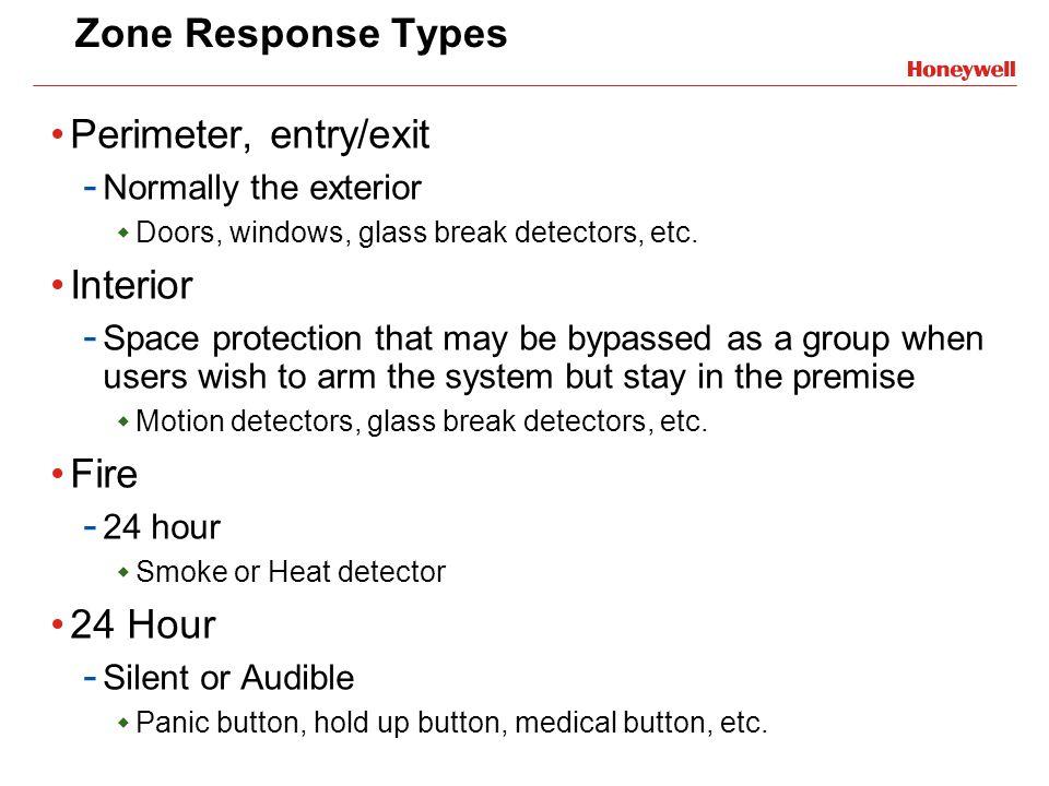 Zone Response Types Perimeter, entry/exit Interior Fire 24 Hour