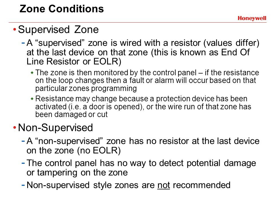 Zone Conditions Supervised Zone Non-Supervised