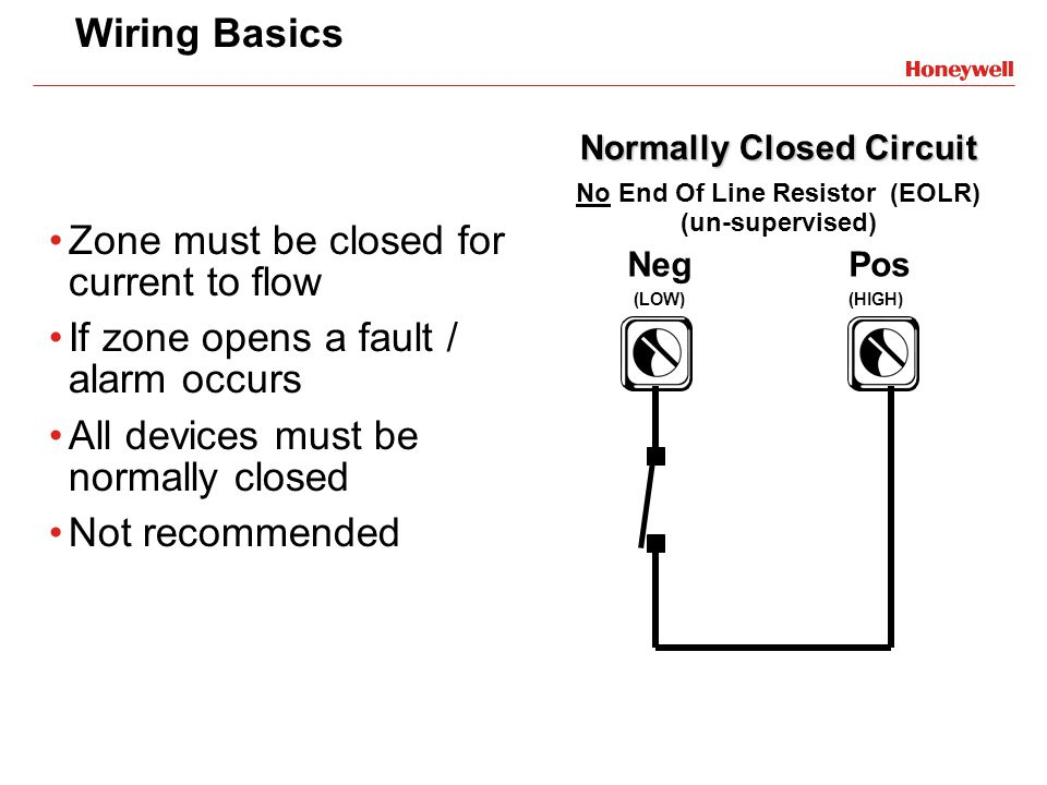 Normally Closed Circuit No End Of Line Resistor (EOLR) (un-supervised)