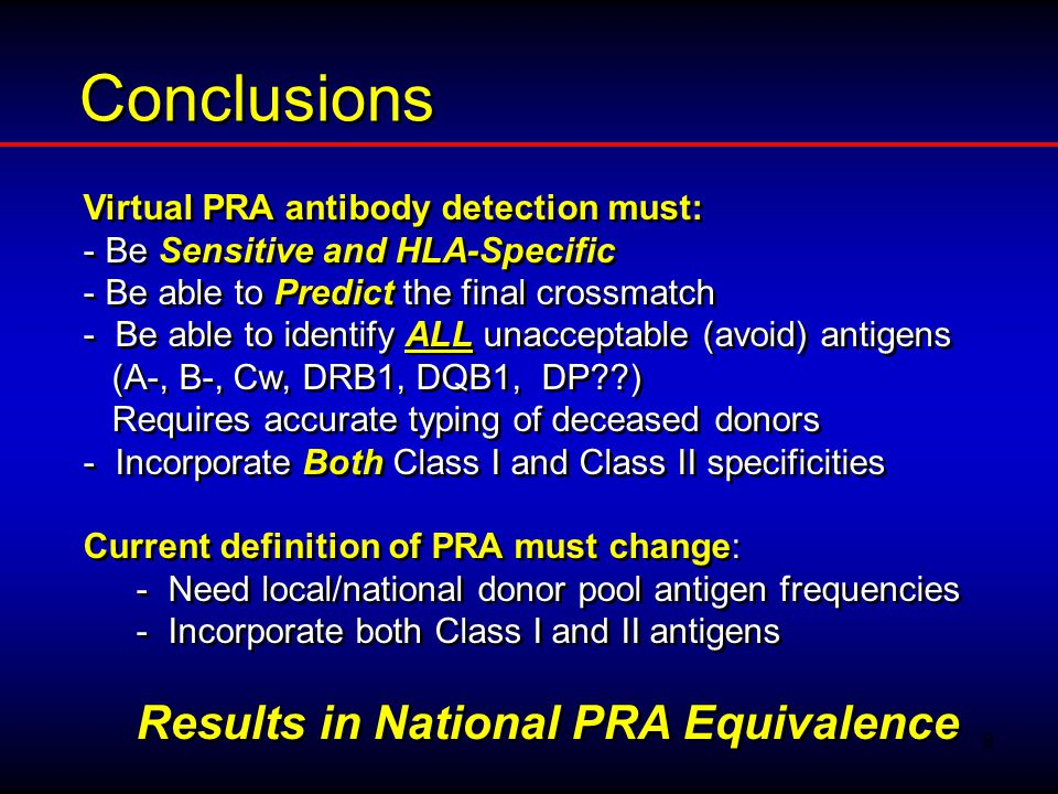 Conclusions Results in National PRA Equivalence