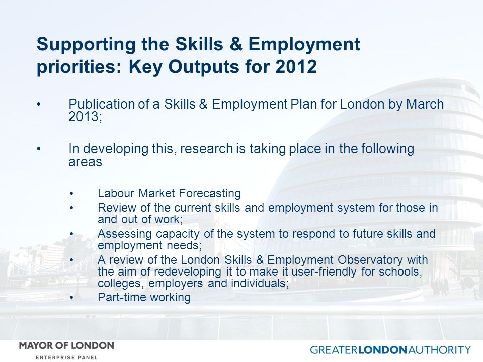Supporting the Skills & Employment priorities: Key Outputs for 2012